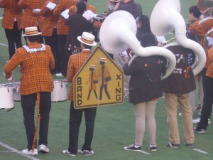 Princeton and Brown bands play nicely together at halftime. The Ivy Leaguers are proud to differentiate their band from the big-time football schools.