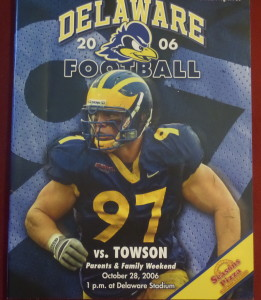 DL Bubba Jefferson graced the cover of the UD vs. Towson game, but QBs Joe Flacco and Sean Schaeffer took to the air in this high-scoring CAA game won by Towson. Whatever became of Sean Schaeffer any way?