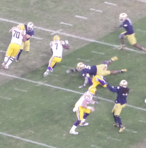 LSU Frosh RB Leonard Fournette (7) scored on a 100-yard kickoff return and on an 89-yard run in the 2014 Music City.