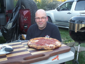Cousin Frank and his pizza - the primary reason for me to attend a Rutgers football game.