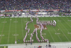 "The Temple Band's 'Walking Mummy"" performs at halftime."