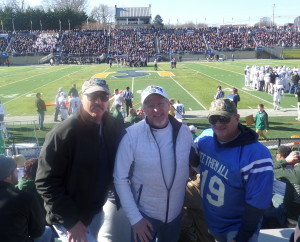 "Brian Donnelly of Dan's Tailgate blog, SRU alum Bob ""Rocky"" Jones, and yours truly attending D-2 playoff action at Shepherd's Ram Stadium."