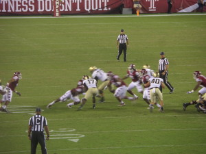 Army surprised Temple in this year's opener as Andy Davidson (40) provide power running on the dive play to improve Army's option play.