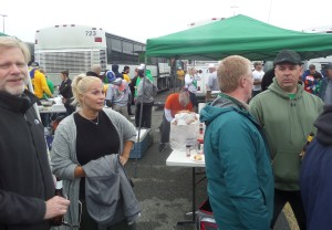 Our tailgaters enjoyed the parking lot party under cloueyd but rainless skies in East Rutherford.