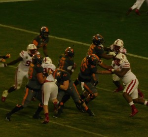 Dobbs (11) breaks out of the pocket before running to his left for a nine-yard TD to put UT up by 14.