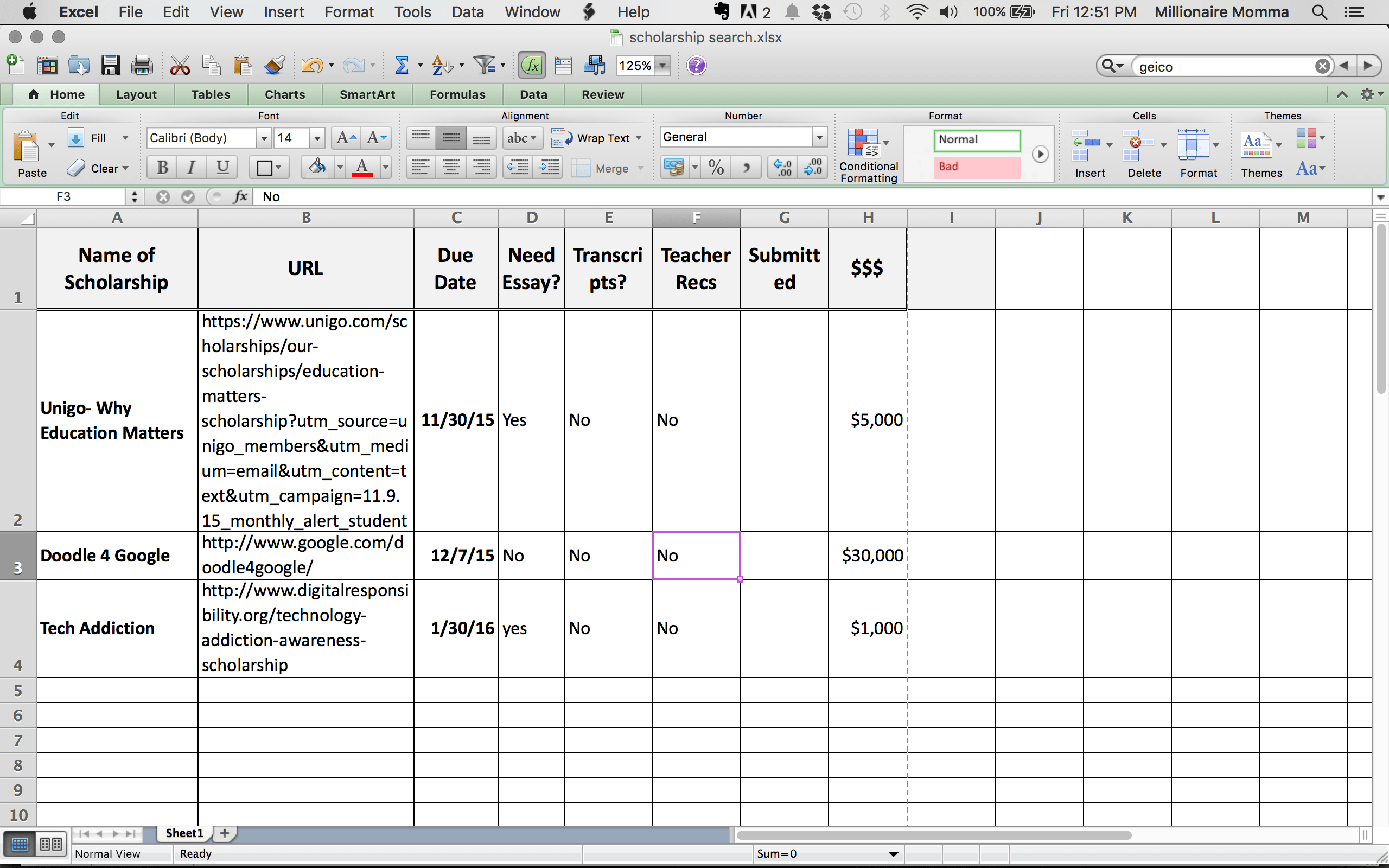 Organize Your Scholarship Search With Free Spreadsheet
