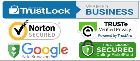 College Relief Fund Secured Protection Seals by Norton, TRUSTe, Google and TrustLock