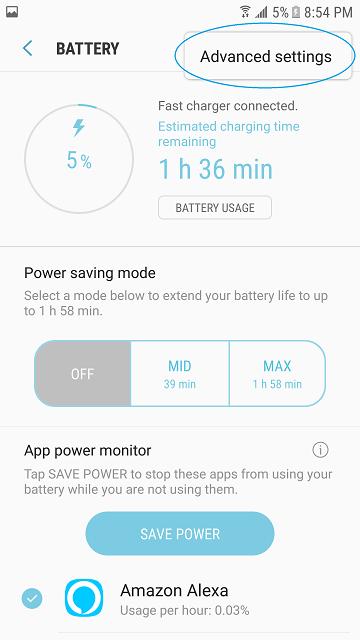 s7 edge battery settings