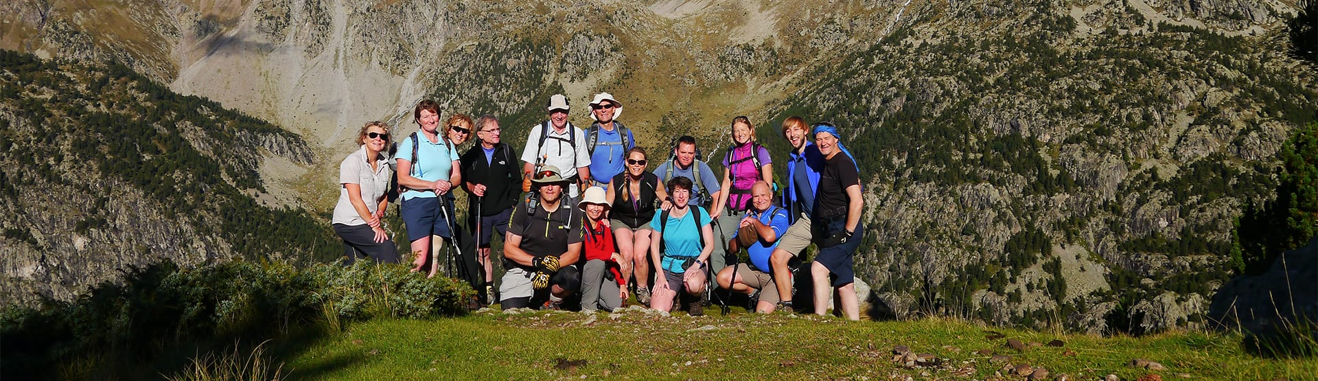 Group hiking on the GR11