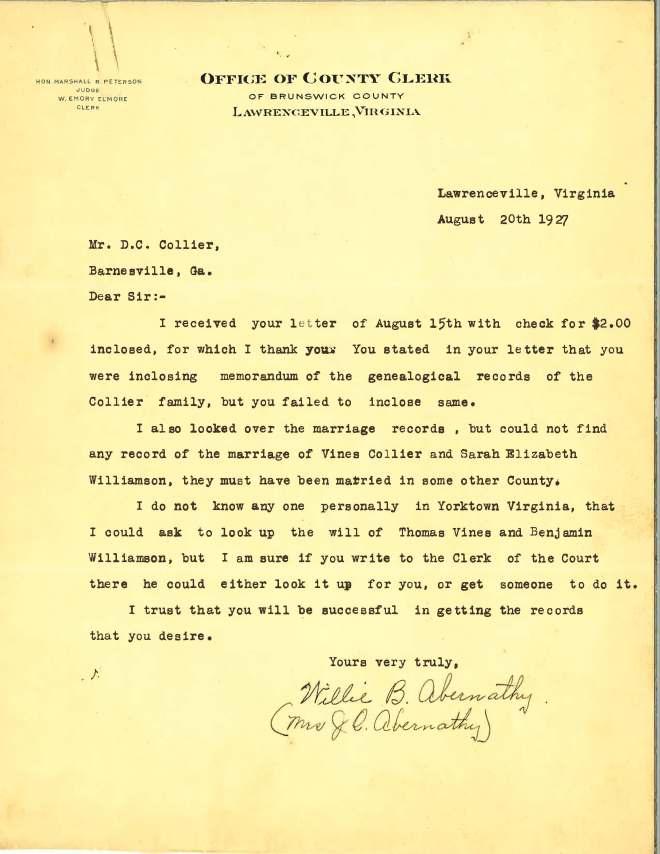 1927_08_20_Ltr Brunswick Co Clerk JO Abernathy to DCC