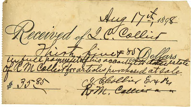 1898_08_17_Receipt for Estate items_IC Collier from RMC Estate