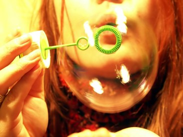 The process for blowing bubbles can be used as a calming technique when you are feeling anxious.