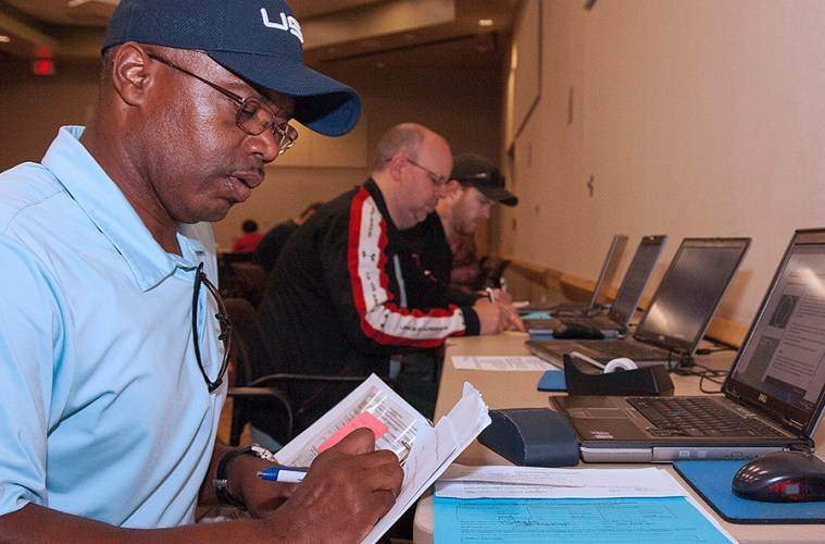 James Jackson registers for classes at a veterans priority registration event at Spring Creek Campus. The events are just one of the benefits available to veterans at the college.