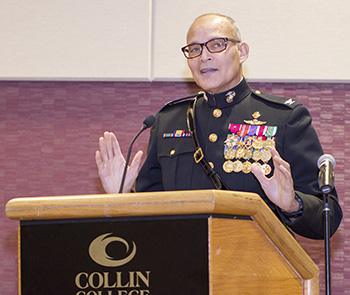 Colonel William Dwiggins (USMC, ret.) was the guest speaker at Collin College's 2015 Military Appreciation Ball. The ball is one way that the college shows its regard for veterans and current service members.