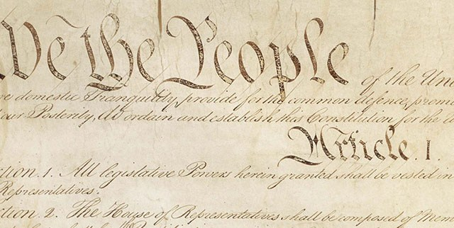 Partial public domain image of the Constitution