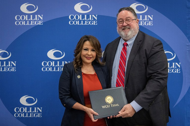 Collin College and WGU Texas announced a partnership to support students seeking bachelor's degrees after completing their associate degrees. The partnership creates pathways for Collin College students, graduates, and employees to work toward a bachelor's or master's degree and further their education through WGU Texas.
