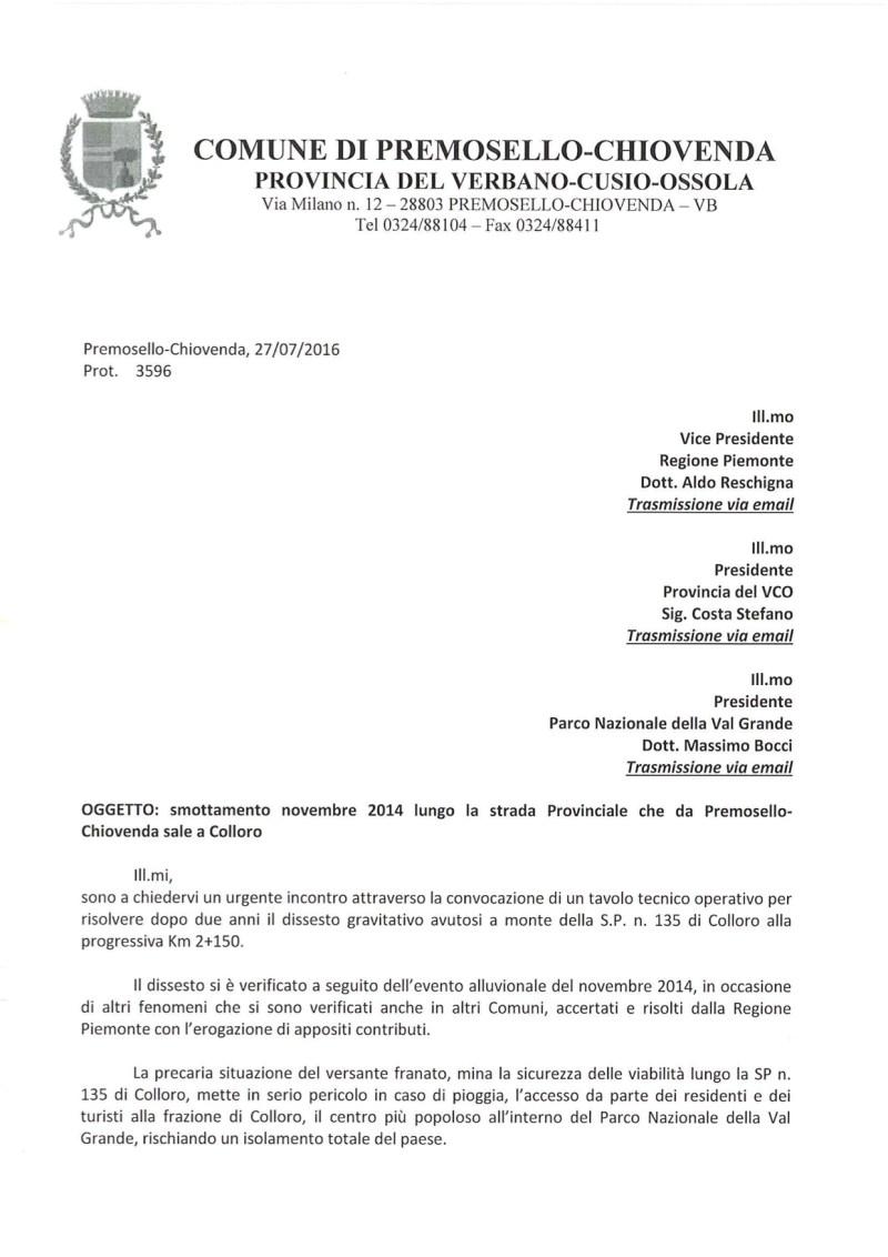 Lettera sindaco colloro frana