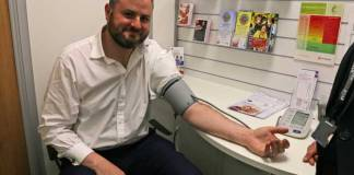 Andrew Stephenson MP gets his blood pressure checked