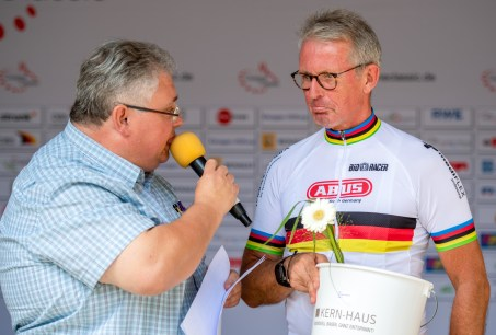 LONGERICH, GERMANY - JUNE 09: Hans-Peter Durst of GER interviewed at the podest at the Race Track - Longericher Hauptstrasse during the Cologne Classic 2019 - Single Time Trial - Einzelzeitfahren on June 09, 2019 in Longerich, Germany (Photo © 2019 Oliver Kremer | https://sports.pixolli.com)