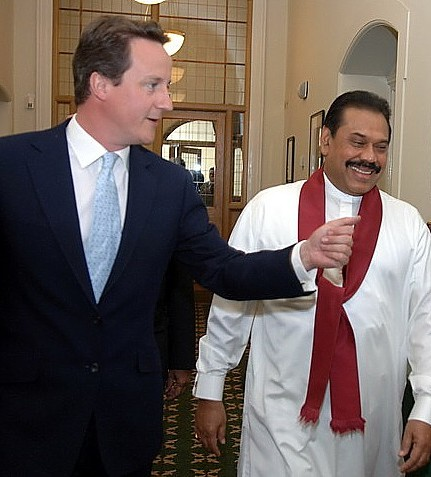 David Cameron and Mahinda Rajapaksa