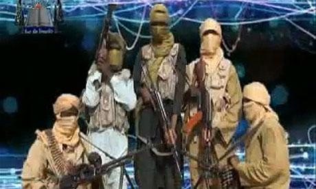 Screengrab of members of the Islamist group Ansaru which claims to have killed seven foreign workers