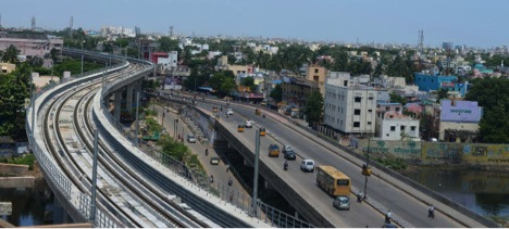 Streamlined appearance of Viaduct for Chennai Metro. Elegance superseding heavy construction is seen.