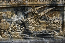 Ancient Indian ocean-going ship arriving at Java, from a frieze of the Borobodur stupa (Indonesia).