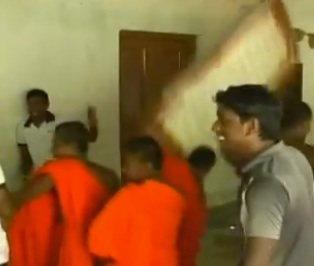 Monks attacking Church in Sri Lanka