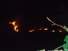 Brush fire on the hillside in middle distance
