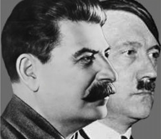 Joseph Stalin (L) and Adolf Hitler (R).