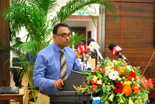 Dr. Udan Fernando at the ceremony to launch the Sri Lanka Governance Report 2012-2013, at BMICH on 29th May, 2014.