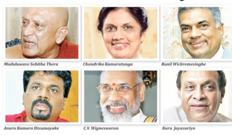 Only the three on the top row can defeat Mahinda; and that ONLY as a single-issue common candidate