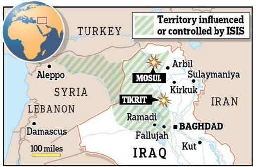 ISIL control on 17 June but the map is changing daily