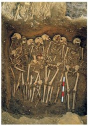 They had a decent burial- The lying posture of the skeletons from the mass- burial at St. Mary Spital London are different from Matale