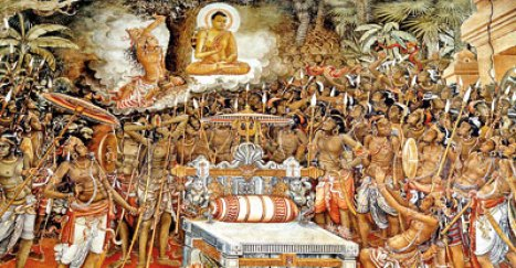 One of the most striking paintings at Kelaniya: Lord Buddha bringing peace to the warring Naga kings Chulodara and Mahodara