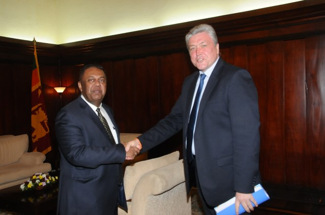 Mangala and  Ukranian Ambassador Oleksandr Shevchenko