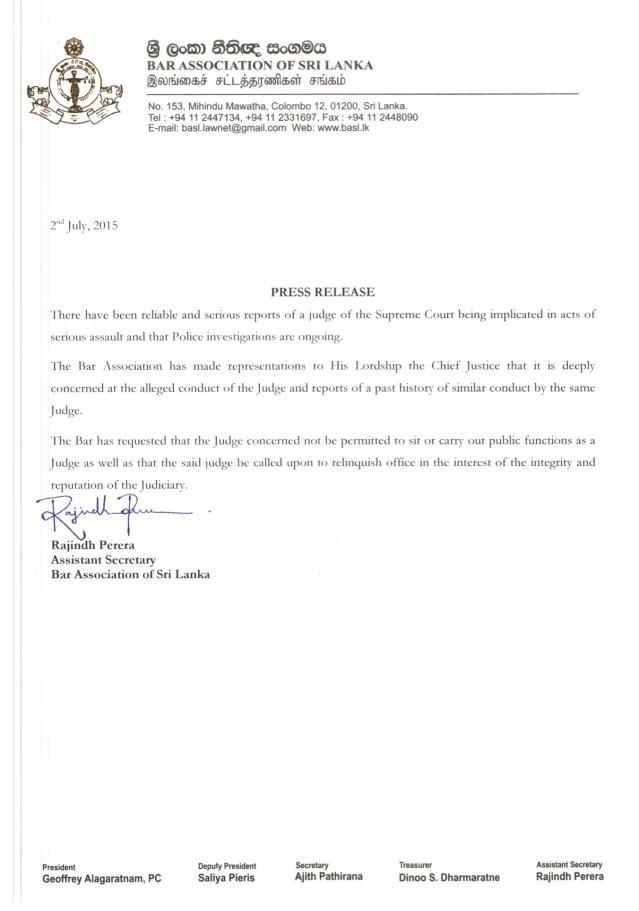 Justice Sarath de Abrew BASL