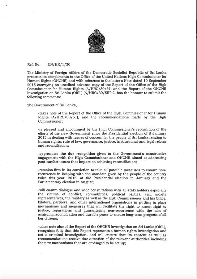 Response to UN