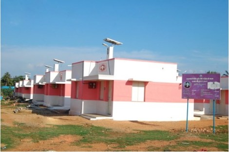 Image of Solar Powered 'Green Houses' in Housing Cluster in Tamil Nadu