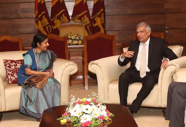 Prime Minister Ranil Wickremesinghe and Indian External Affairs Minister Sushma Swaraj