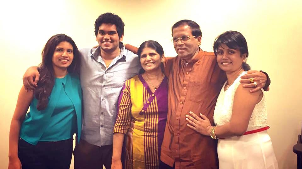Srisena family |Photo via Sirisena's Facebook