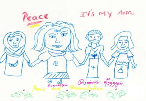 Another child drew figures of people belonging to the four religions and said she would be a worker for peace.