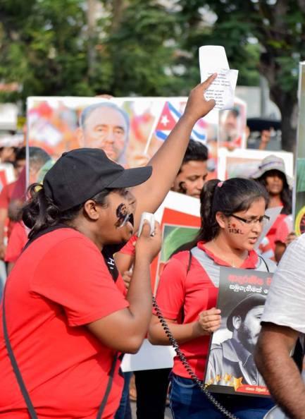 Fidel commemoration in Sri Lanka | Photo via JVP Facebook