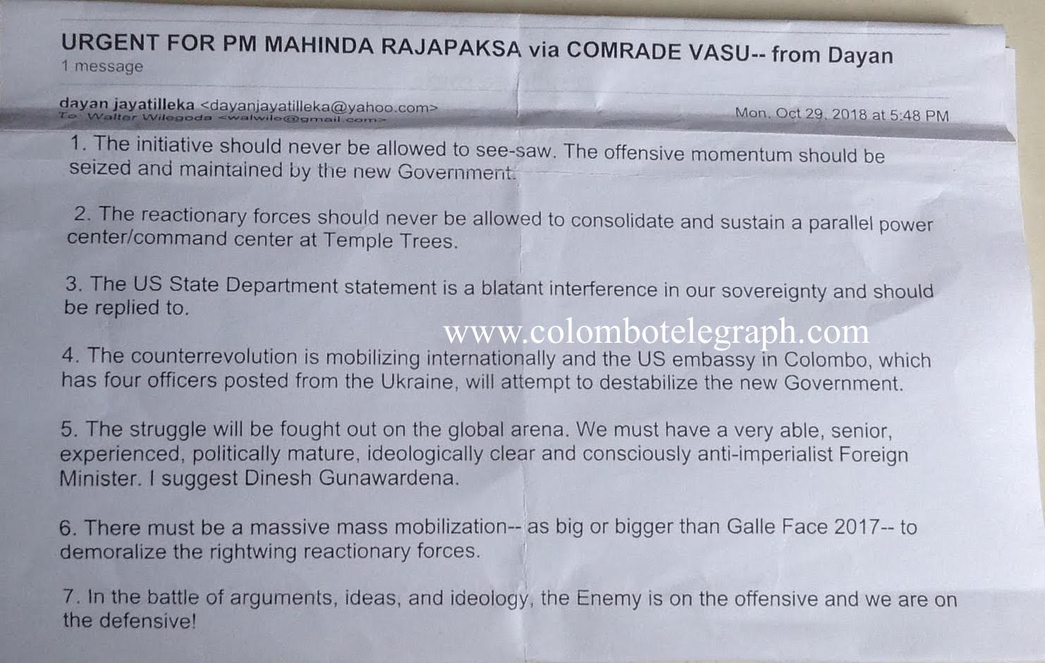 Full Text: Sri Lanka's Ambassador To Russia Dayan Advises