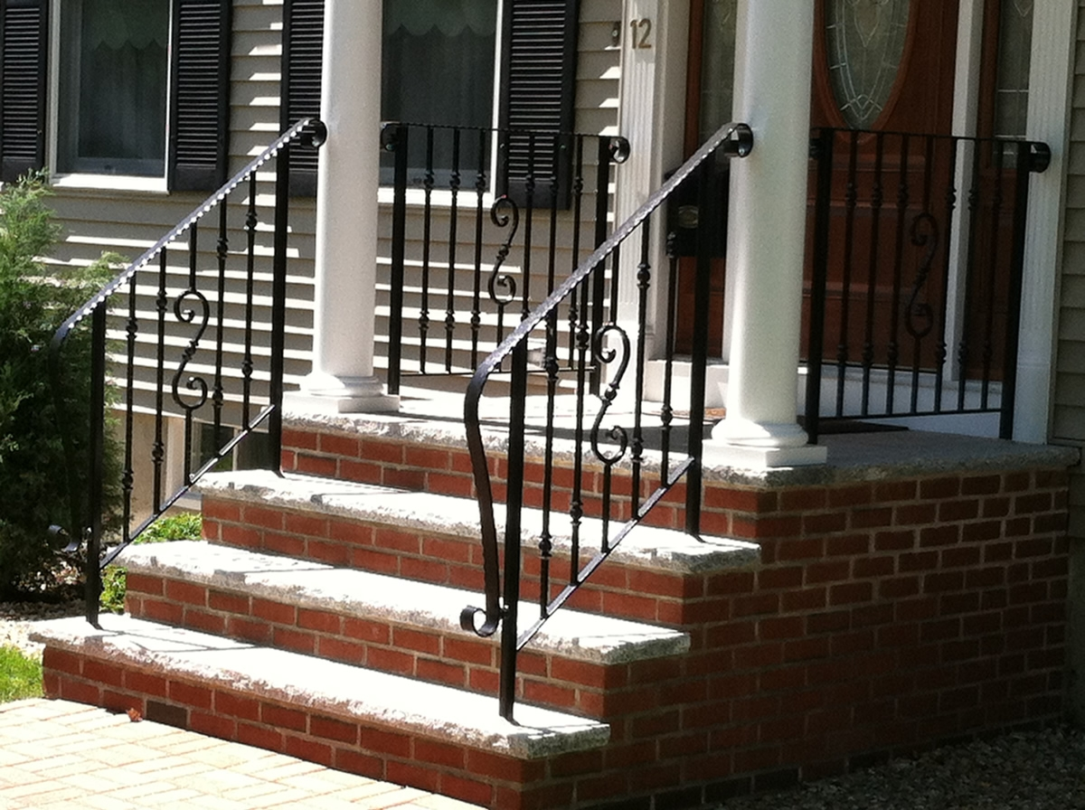 Colonial Iron Works Iron Exterior Handrails | Exterior Handrails For Steps | Cast Iron | 3 Step | Brushed Nickel | Front Step Railing Pipe | Garden