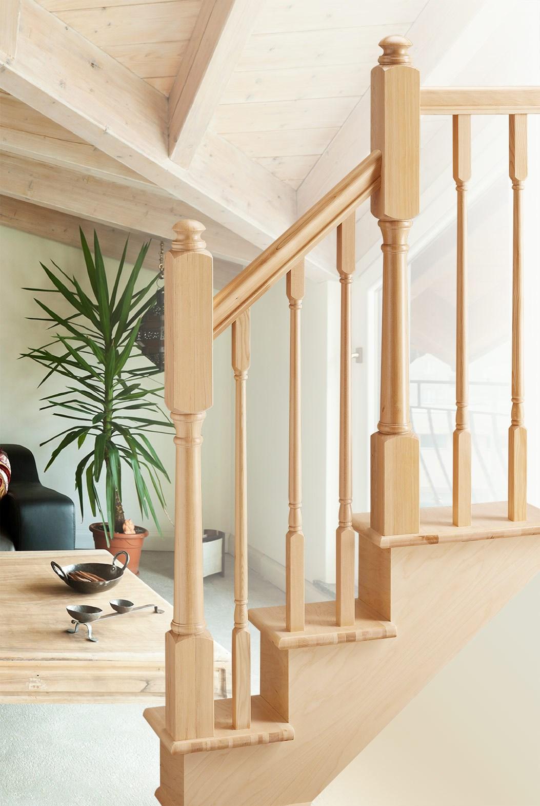 Salem Series Hemlock Colonial Elegance   Hemlock Handrails For Stairs   Basement Stairs   Newel Caps   Wooden Stairs   Wood   Newel Posts