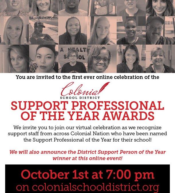 Premios al profesional de apoyo educativo del año - 10/1 a las 7 pm