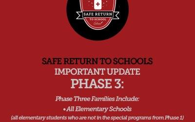 Estudiantes y familias de la fase tres: Actualización de regreso a la escuela
