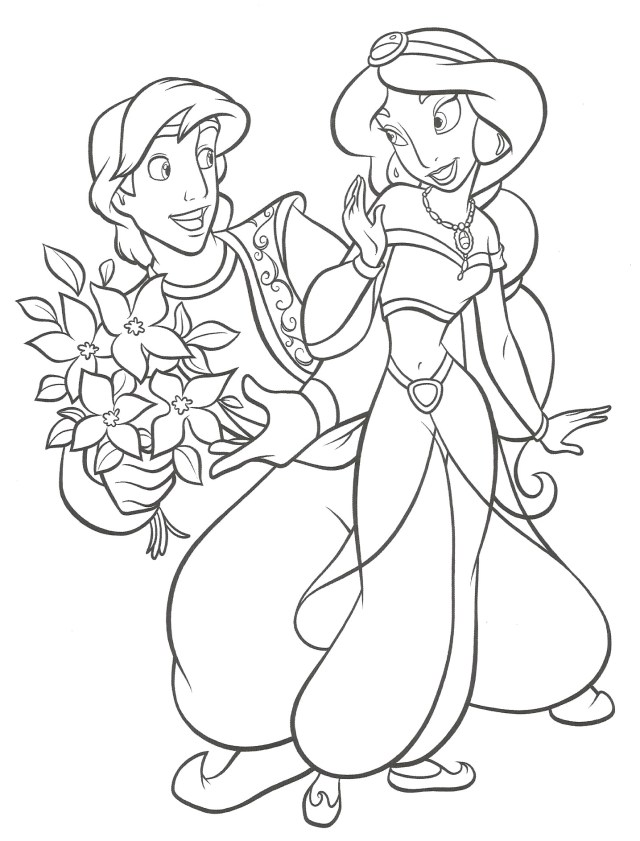 Aladdin : Coloriage Jasmine et Aladdin à imprimer