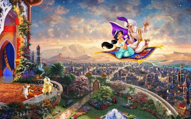 Coloriage Aladdin Jasmine et le tapis volant à imprimer
